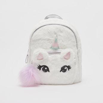 Unicorn Patterned Zipper Backpack with Adjustable Shoulder Straps