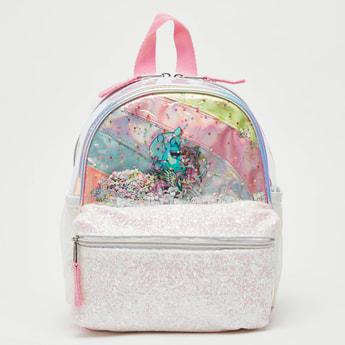 Unicorn Embellished Backpack with Zip Closure