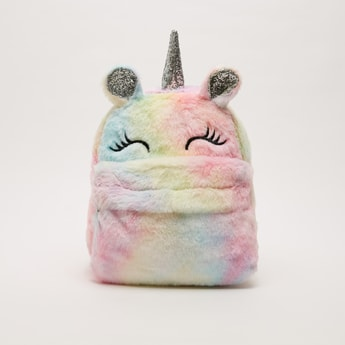 Unicorn Plush Backpack with Applique Detail and Zip Closure