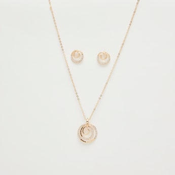 Stud Detail Pendant Necklace and Earrings Set