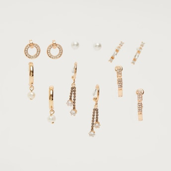 Set of 6 - Embellished Assorted Earrings with Pushback Closure