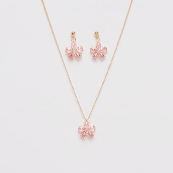 Flower Pendant Necklace and Earrings Set