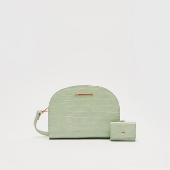 Reptilian Textured Crossbody Bag with Detachable Strap