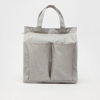 Solid Lunch Bag with Multiple Pockets and Zip Closure