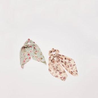 ربطة شعر وشاح بطبعات أزهار- طقم من قطعتين