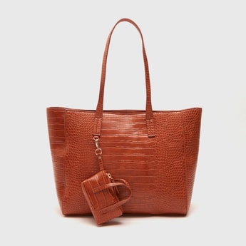 Textured Tote Bag with Pouch