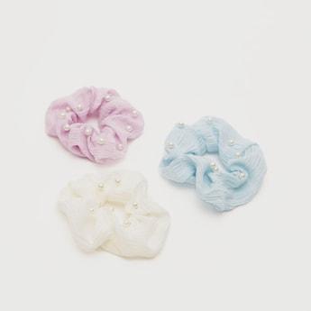 Set of 3 - Bead Detail Textured Hair Scrunchie