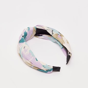 Printed Hairband with Pleat Detail