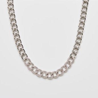 Stone Studded Chunky Link Necklace