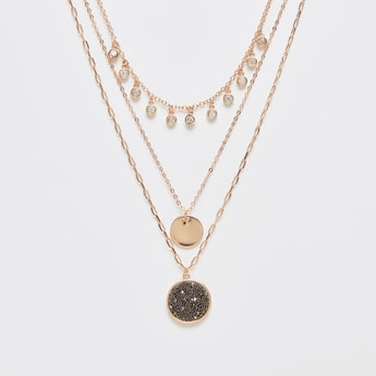 Layered Stone-Studded Necklace with Beaded Round Pendant