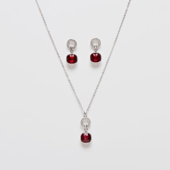 Studded Pendant Necklace with Dangling Earrings