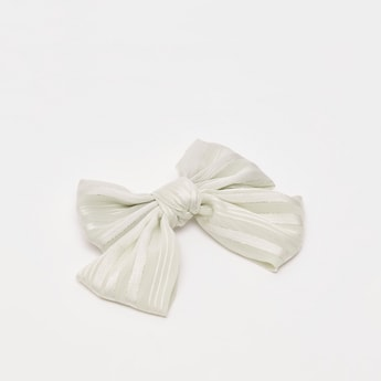 Striped Bow Shaped Hair Clip