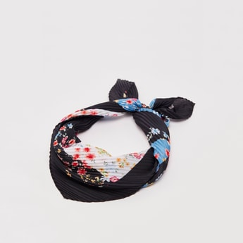 All-Over Print Pleated Square Scarf