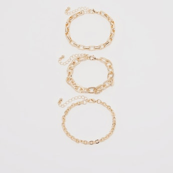 Set of 3 - Chain Link Bracelet with Lobster Clasp