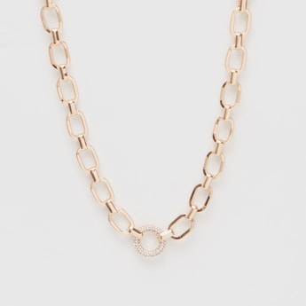 Metal Link Chain with Stone-Studded Round Pendant
