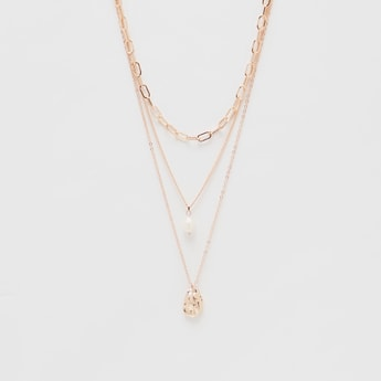 Multilayer Necklace with Pendants and Lobster Clasp