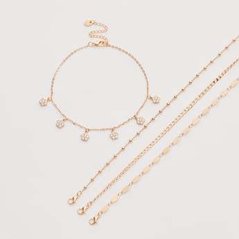 Set of 4 - Assorted Anklets with Lobster Clasp