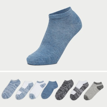 Pack of 7 - Textured Ankle Length Socks with Cuffed Hem