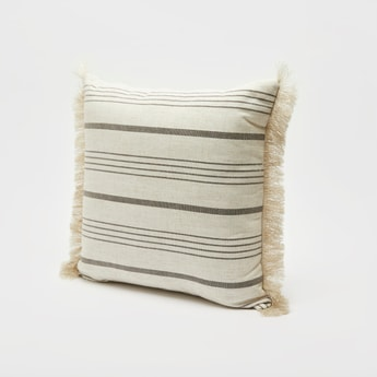 Striped Filled Cushion with Fringe Detail - 43x43 cms