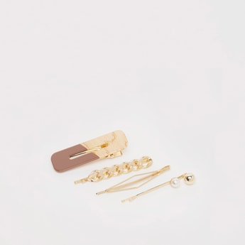 Textured Metallic 4-Piece Hair Accessory Set