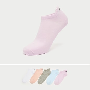 Pack of 5 - Text Print Ankle Length Socks with Cuffed Hem