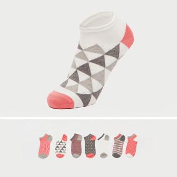Set of 7 - Assorted Ankle Length Socks with Cuffed Hem