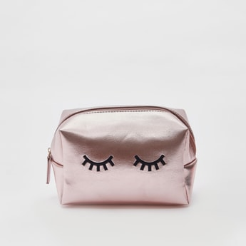 Eye Lash Embroidered Pouch with Zip Closure