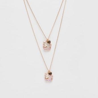 Set of 2 - Unicorn Pendant Necklace with Charm