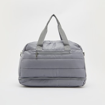 Solid Duffle Bag with Twin Handle and Zip Closure