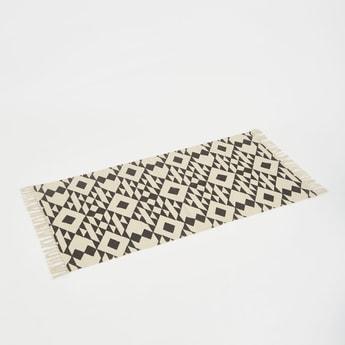 Aztec Print Rug with Tassels - 140x70 cms