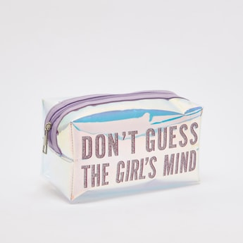 Slogan Print Pouch with Zip Closure