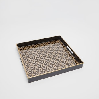 Printed Square Serving Tray with Cutout Handles