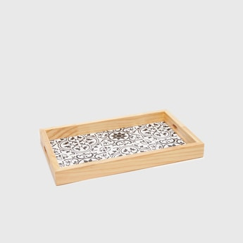 Printed Rectangular Serving Tray with Cutout Handles
