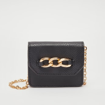 Textured Wallet with Detachable Chain Strap