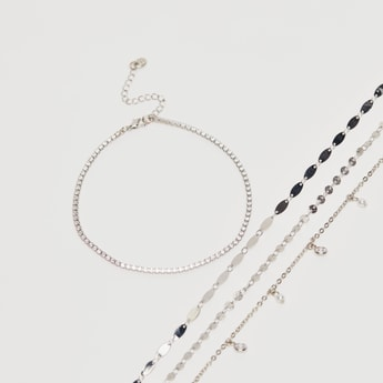 Set of 4 - Metallic Anklet with Lobster Clasp Closure