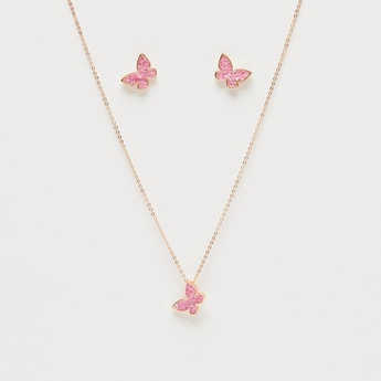 Studded Butterfly Pendant Necklace and Earrings Set