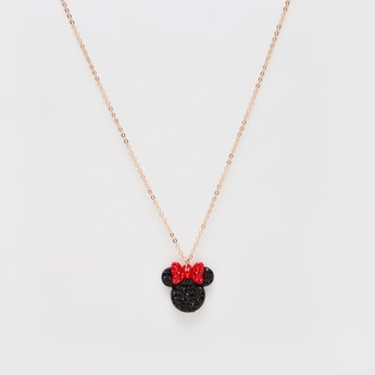 Minnie Mouse Studded Pendant Necklace with Lobster Clasp Closure