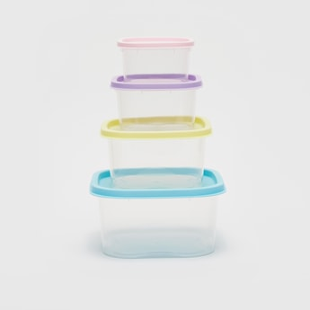 4-Piece Container Set with Coloured Lids