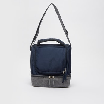 Coloublocked Lunch Bag with Zip Closure