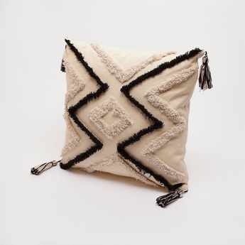 Textured Filled Cushion with Tassels - 45x45 cms