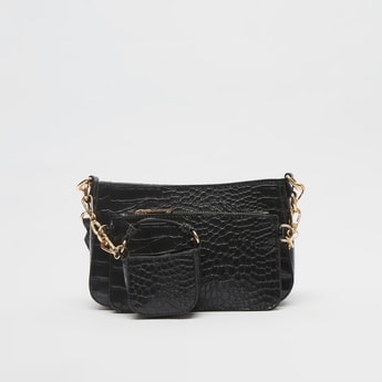 Textured Crossbody Bag with Zip Closure and Pouch