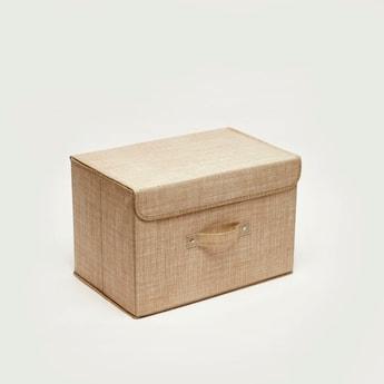 صندوق تخزين مزين بطبعات - 38x25x25 سم