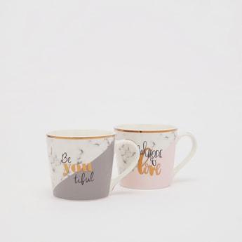 Set of 2 - Text Print Mugs with Handle