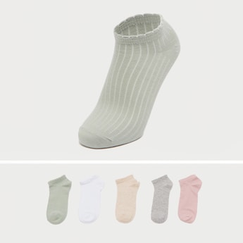 Set of 5 - Textured Ankle Length Socks with Scalloped Hem