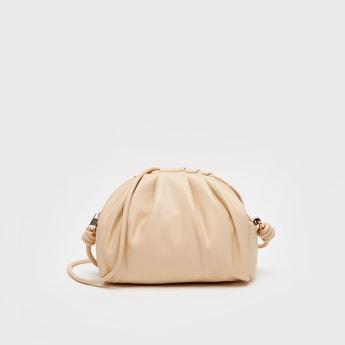 Solid Crossbody Bag with Zip Closure
