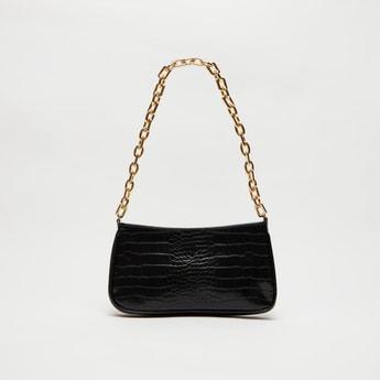 Animal Textured Shoulder Bag with Zip Closure