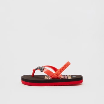 Printed Flip Flops with Applique Detail Straps and Slingback