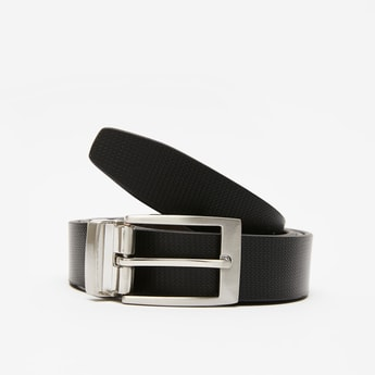 Textured Formal Belt with Buckle Closure