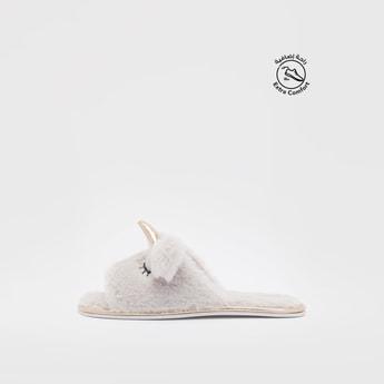 Unicorn Applique Plush Bedroom Slippers