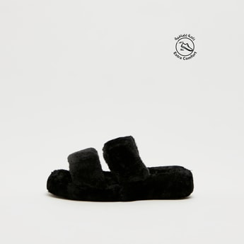 Plush Detail Dual Strap Bedroom Slippers